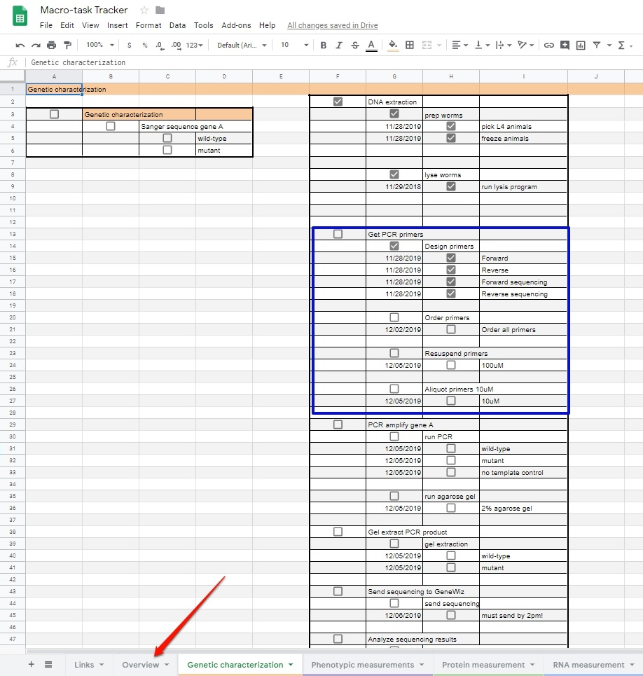Spreadsheet with checkboxes, days, and dates, organized by week.